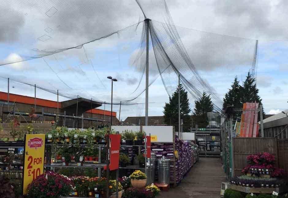 Bird netting at B&Q Falkirk in need of repair