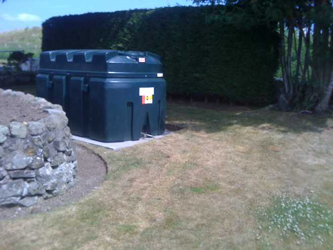 new oil tank ready to be connected to oil fired heating installation