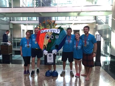 Team CY-Run with Harvey, mascot of the Prince and Princess of Wales Hospice in Glasgow