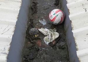 Blocked gutter Ibrox Sports Complex Glasgow