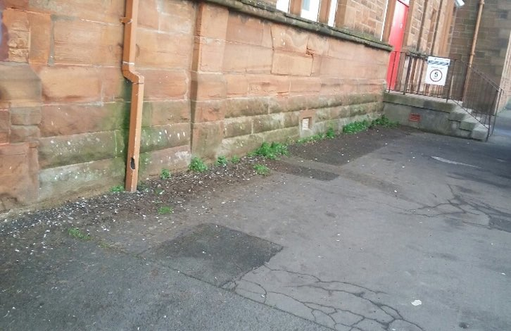 Pigeon guano build up at school in Ayrshire