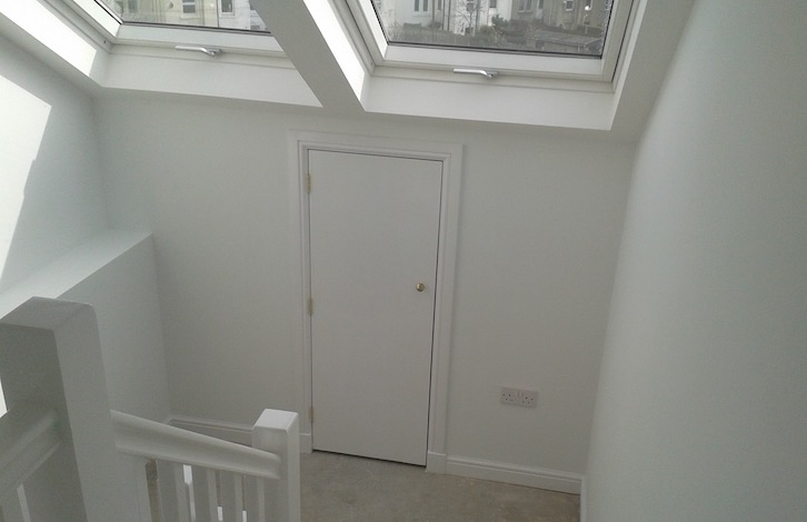 attic access stairs and landing