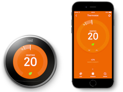 Nest smart thermostat and phone app